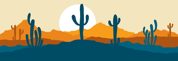 Abstract landscape with cactus