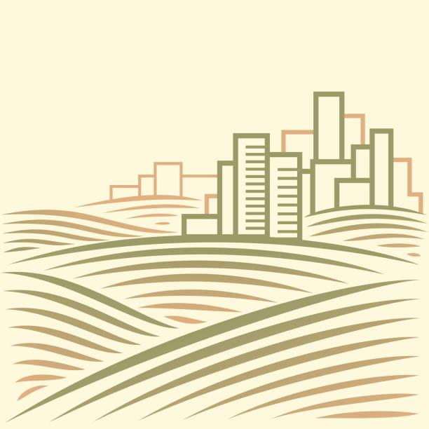 Abstrakte Landschaft mit moderner Smart City – Vektorgrafik