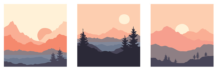 Abstract landscape with mountains and firs.