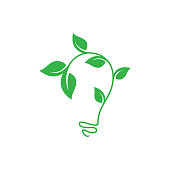 Abstract leaf growth symbol design vector shaped bulb on white background