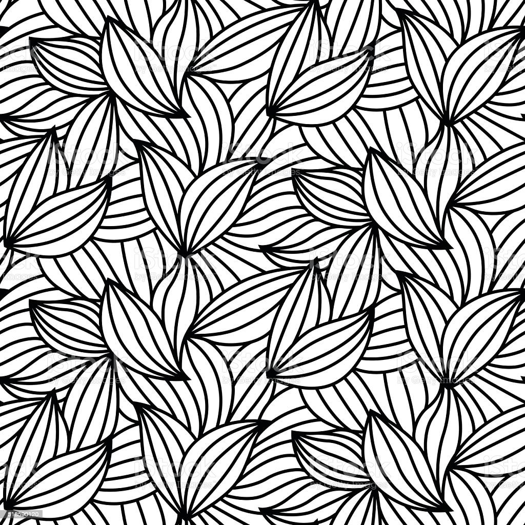 abstract leaf lines seamless pattern modern design stock