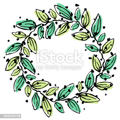 Abstract leaf wreath background