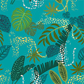 Abstract leopard pattern with tropical leaves. Vector seamless texture. Trendy Illustration.