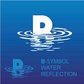 Abstract letter B. Template B brand name companies. Creative sign for the corporate identity of the company letter B sign, symbol, background letter in the reflection in the water.