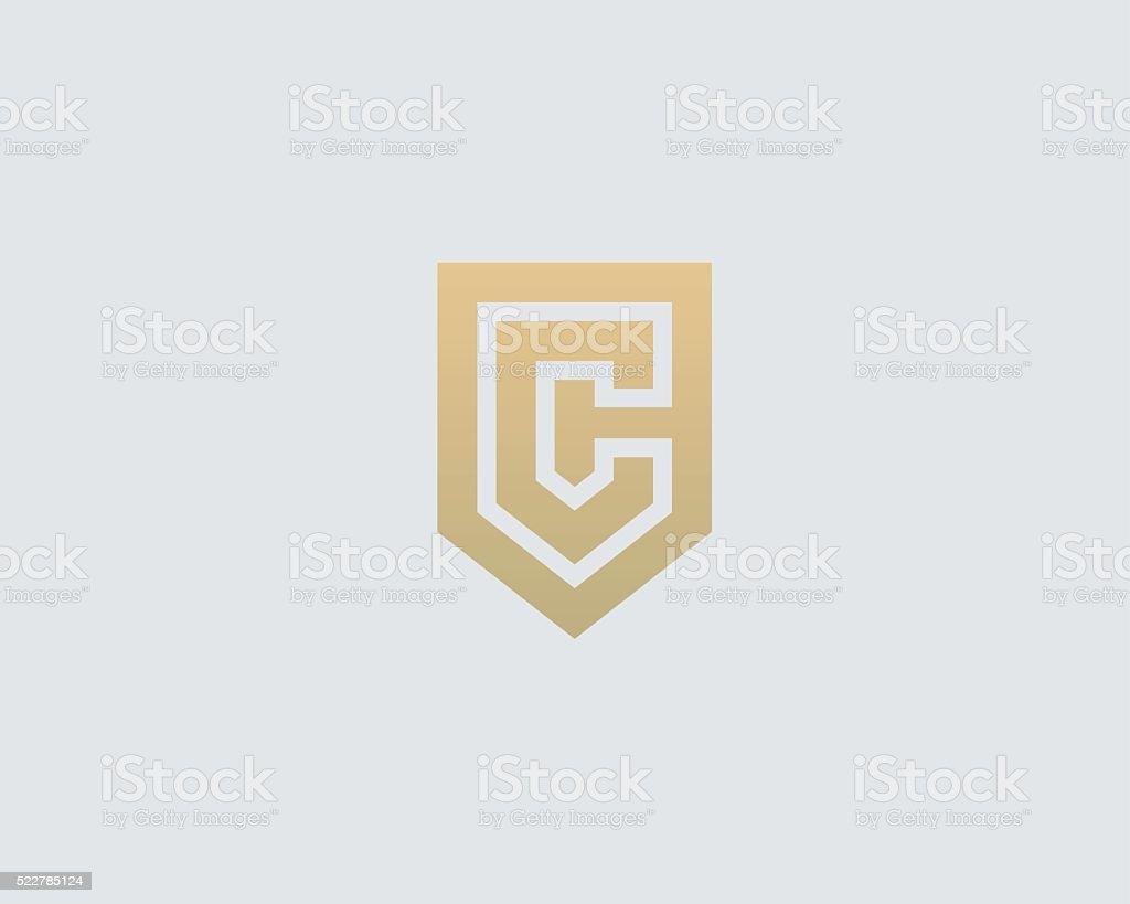 Abstract letter C shield logo design template. Premium nominal monogram vector art illustration