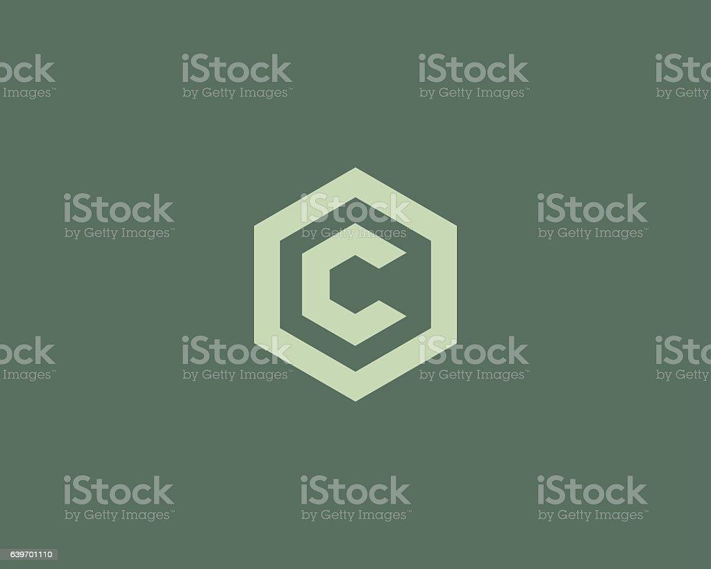 Abstract letter C vector logotype. Line hexagon creative simple logo vector art illustration