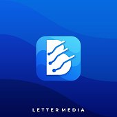 Abstract Letter Digital Icon Illustration Vector Design Template. Suitable for Creative Industry, Multimedia, entertainment, Educations, Shop, and any related business
