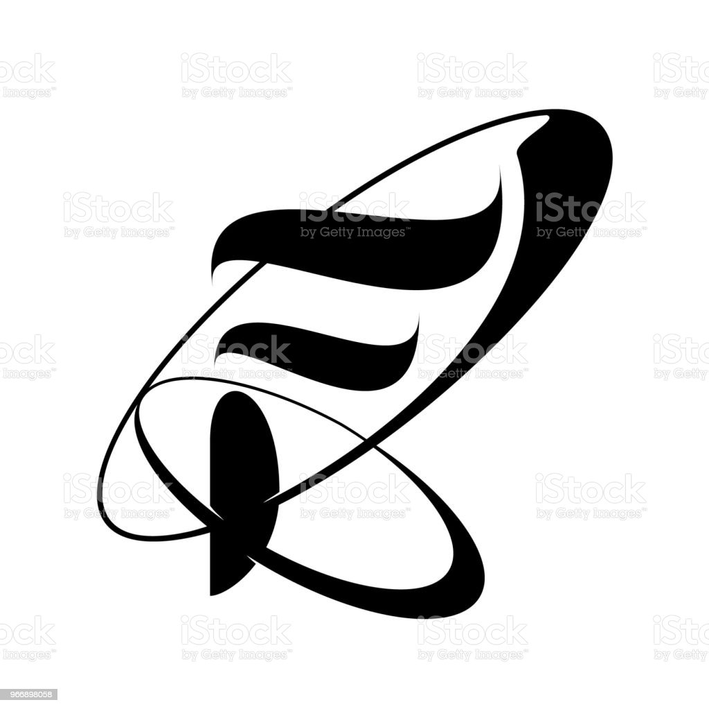 Abstract Letter F Logo Design In Black And White Stock Vector Art