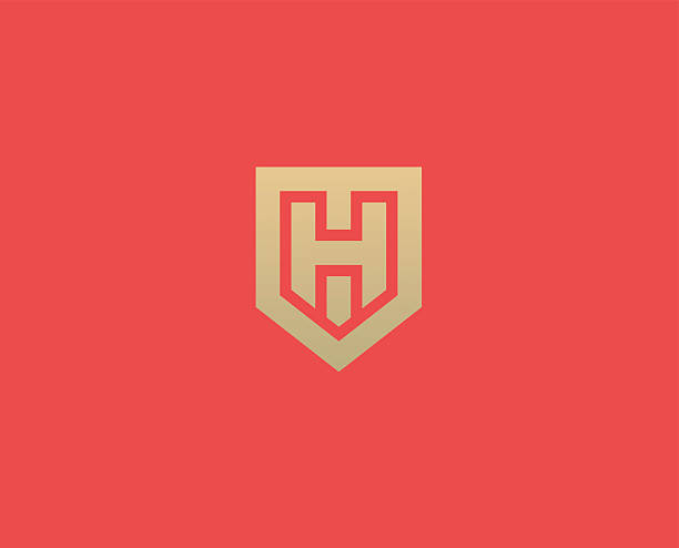 abstract letter h shield logo design template. premium nominal monogram - h harfi stock illustrations, clip art, cartoons, & icons