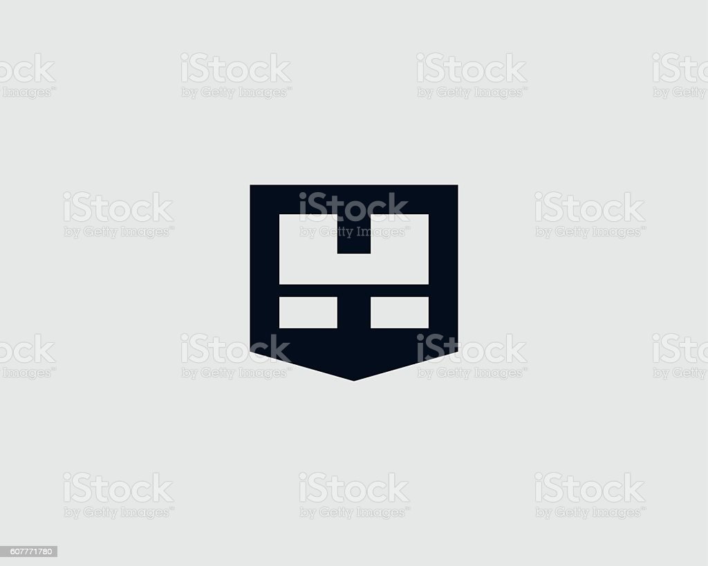 Abstract letter H shield logo design template. vector art illustration