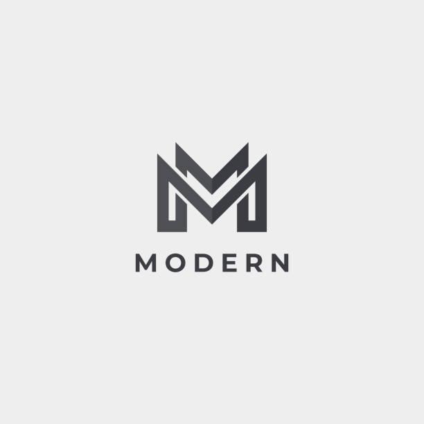 bildbanksillustrationer, clip art samt tecknat material och ikoner med abstrakt bokstaven m emblem. modern idé skylt. universell vektor ikon. - lyxig monogram