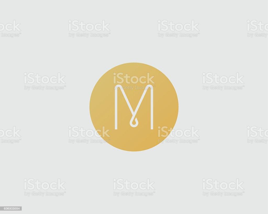 Abstract letter M logo design. Line vector monogram vector art illustration