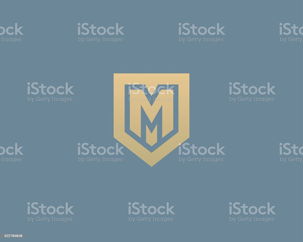 Abstract letter M shield logo design template. Premium nominal monogram vector art illustration