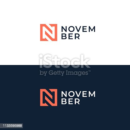 istock Abstract letter N logotype. Modern logo idea sign. Universal emblem vector icon. 1133595988