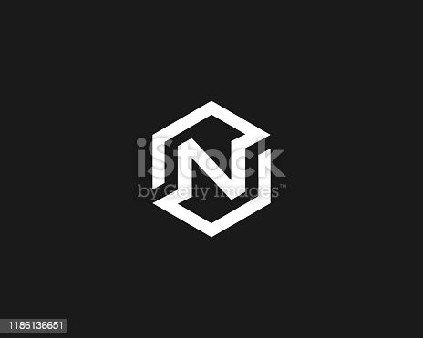 istock Abstract letter N vector logo icon design modern minimal style illustration. Hexagon alphabet emblem sign symbol mark logotype 1186136651