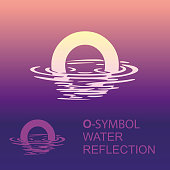 Abstract letter O. Template O brand name companies. Creative sign for the corporate identity of the company letter O sign, symbol, background letter in the reflection in the water.