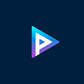 Abstract letter P logo. Play media logo icon. Modern arrow logo design. Music player, video player application icon. App icon design for iOS and Android.