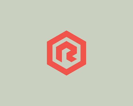 Abstract letter R vector logotype. Line hexagon creative simple logo