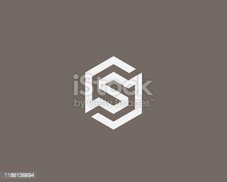 Abstract letter S vector logo icon design modern minimal style illustration. Hexagon alphabet emblem sign symbol mark logotype.