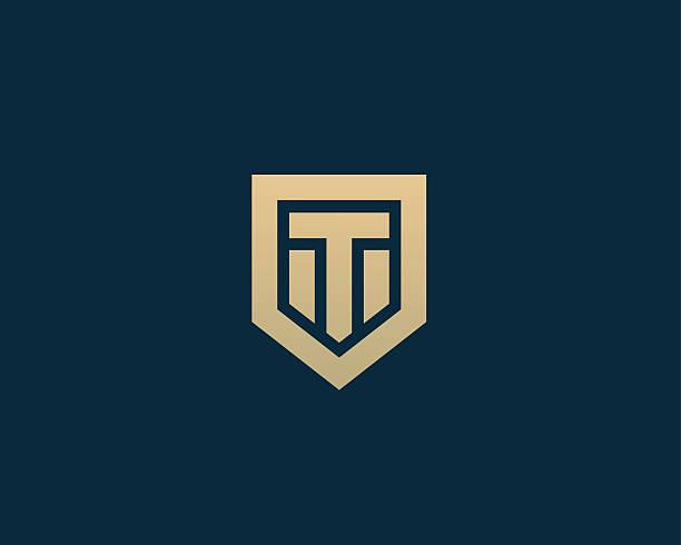 Abstract Letter T Shield Logo Design Template Premium Nominal Monogram Vector Art Illustration