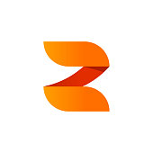 Abstract letter Z logo vector element design isolated on white background, orange gradient number 2 symbol elegant beauty rounded style, creative modern trendy logotype