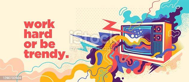 istock Abstract lifestyle graffiti design. 1290732524