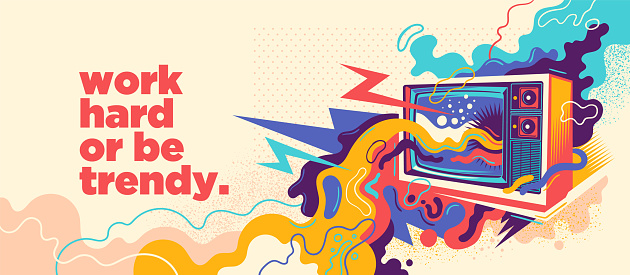 Abstract lifestyle graffiti design with retro TV and slogan. Vector illustration.