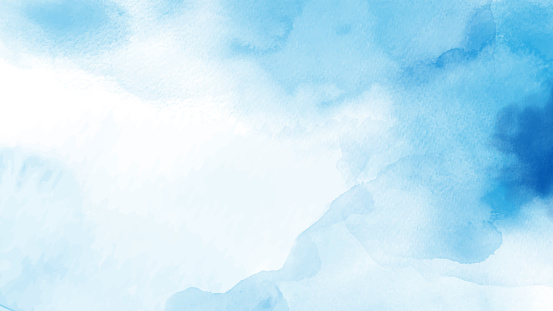 Abstract light blue watercolor hand-painted for background. Stain artistic vector used as being an element in the decorative design of background,  header, brochure, poster, card, cover or banner.