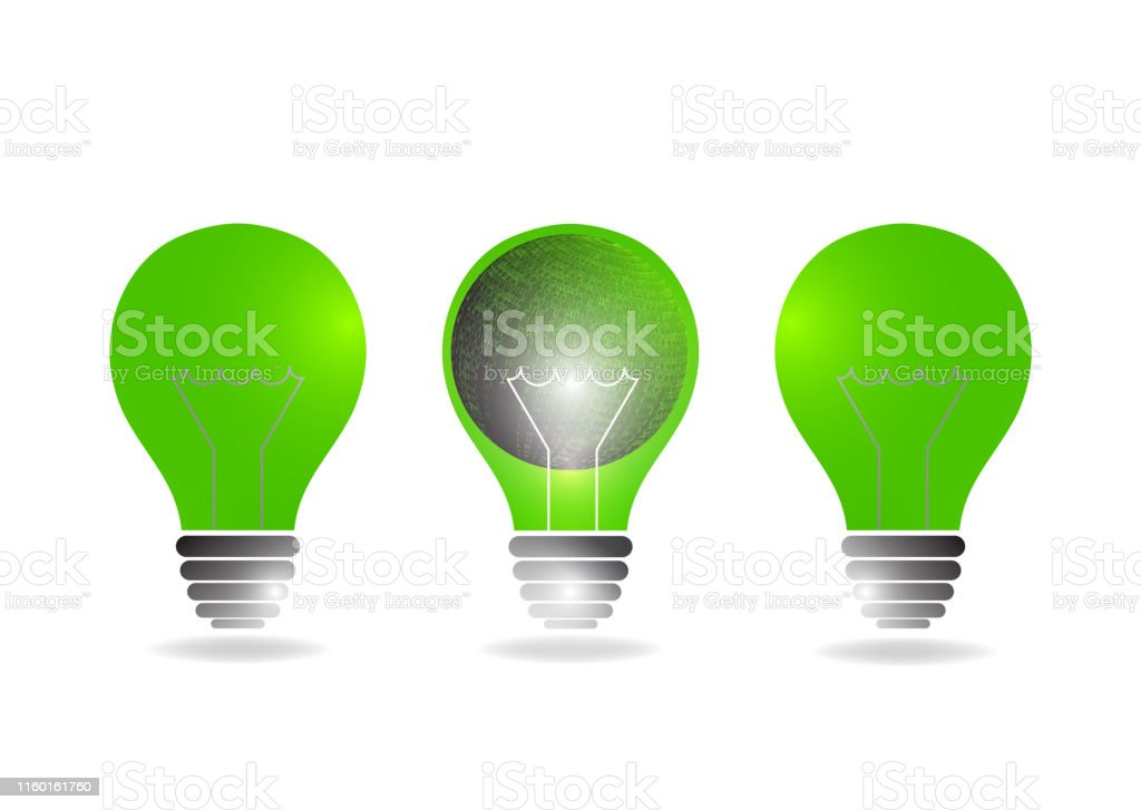 Abstract light bulb illuminates. The concept of global energy saving....