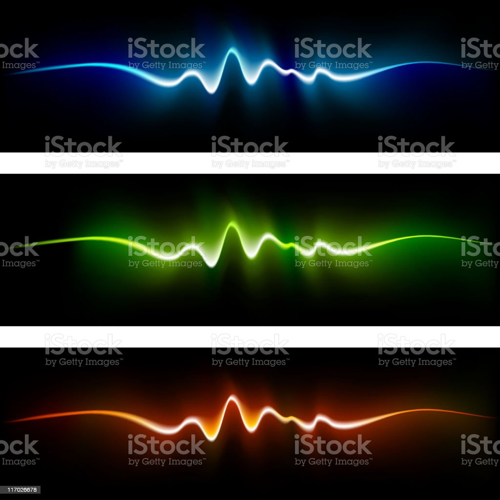 Abstract light color waves on black Background vector art illustration