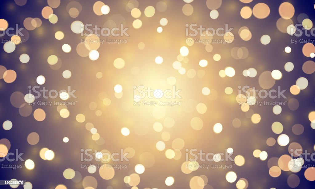 Abstract light confetti with glitter glow effect on golden background. Vector defocused shine or golden and white sparkling lights glow bokeh for Christmas or birthday holiday background template vector art illustration