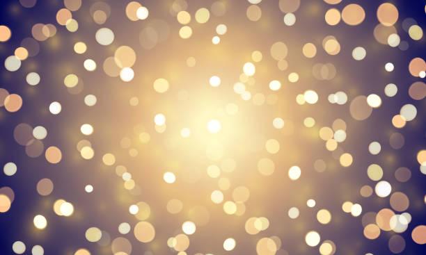 ilustraciones, imágenes clip art, dibujos animados e iconos de stock de resumen luz confeti con brillo resplandor efecto sobre fondo de oro. vector defocused brillo o resplandor de luces brillantes oro y blanco bokeh para navidad o cumpleaños plantilla de fondo de vacaciones - fondos difuminados