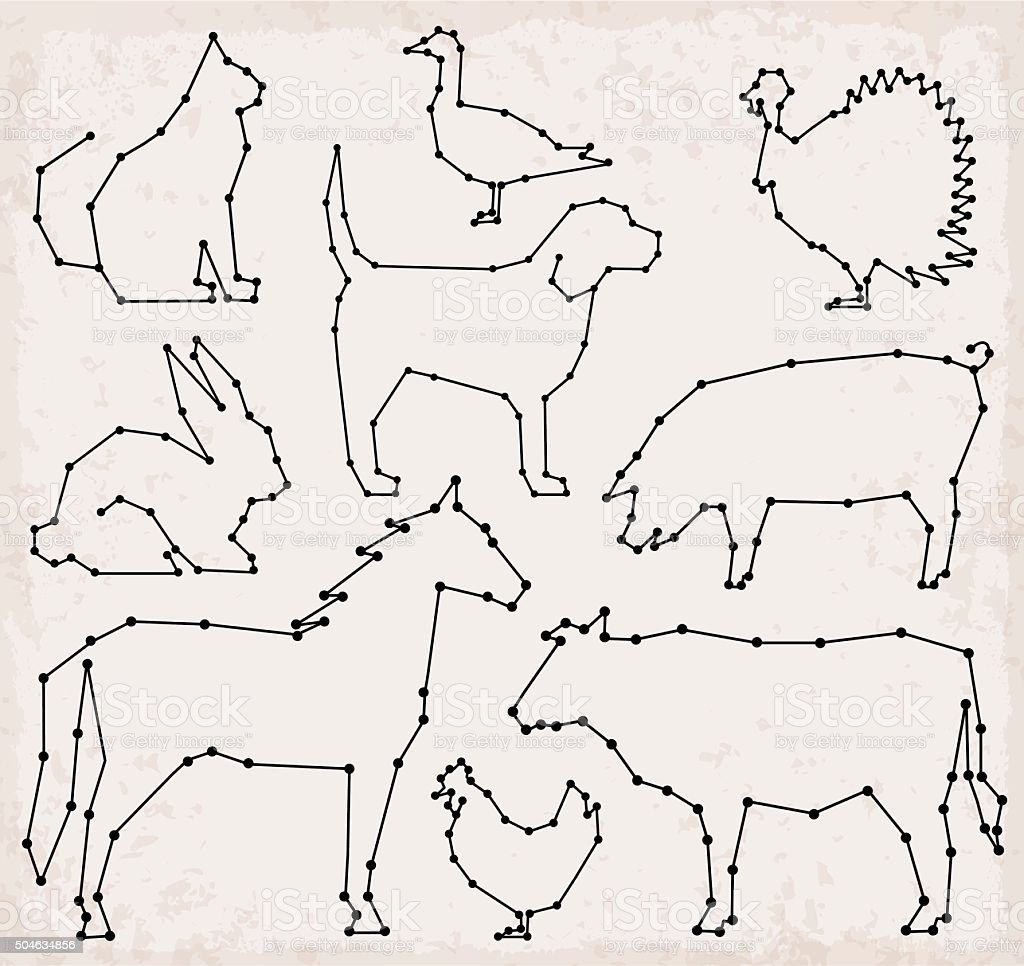 Line Art Farm Animals : Abstract line and dot farm animals set vector