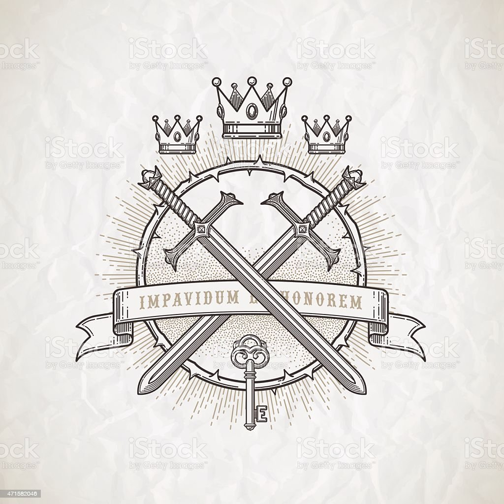 Abstract line art emblem with heraldic elements vector art illustration