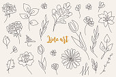 istock Abstract line art floral collection - tulip, rose, gerbera 1224406474