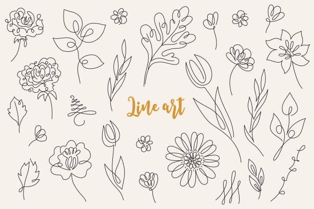 abstrakcyjna kolekcja kwiatowa - tulipan, róża, gerbera - linia stock illustrations