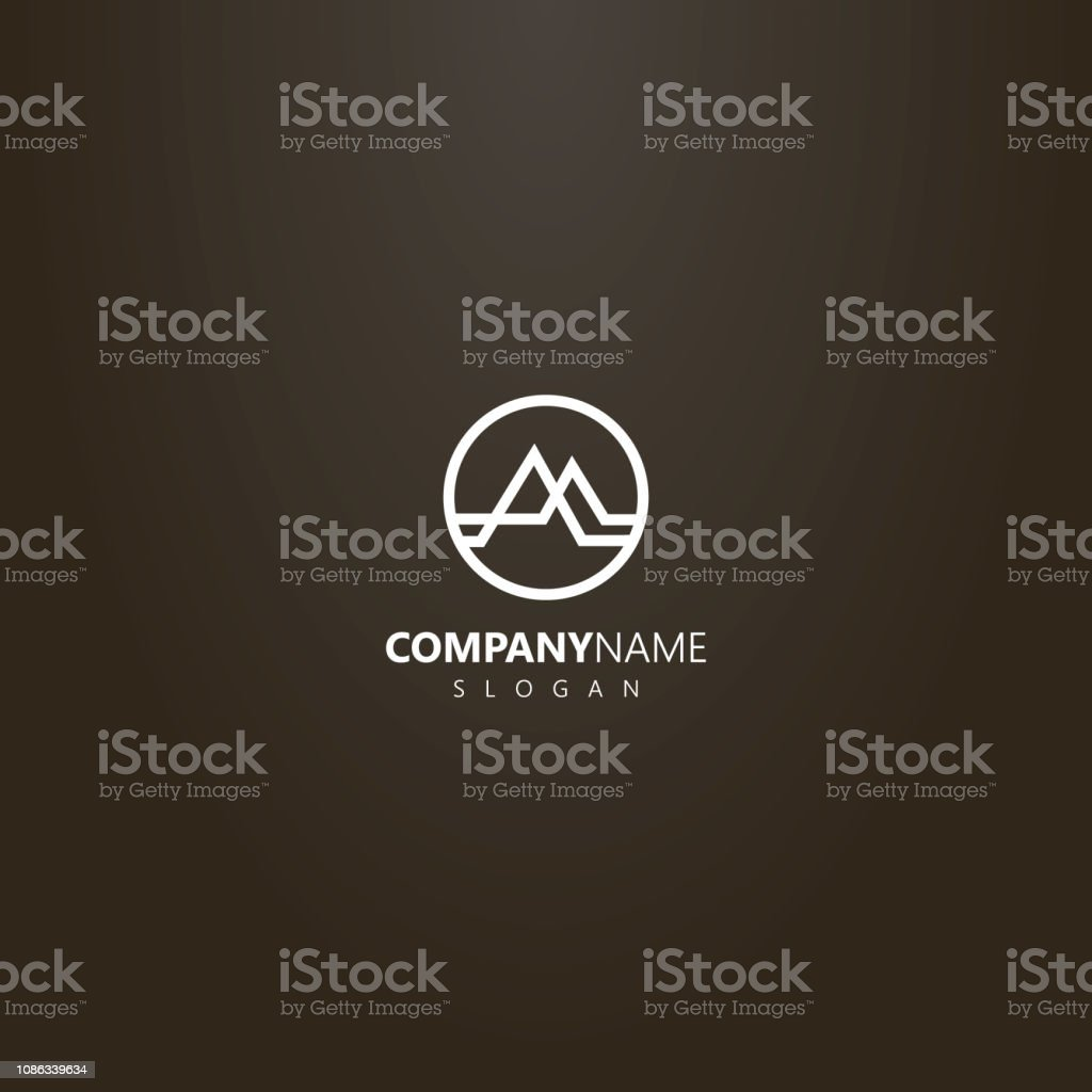 white logo on a black background. vector abstract line art geometric...