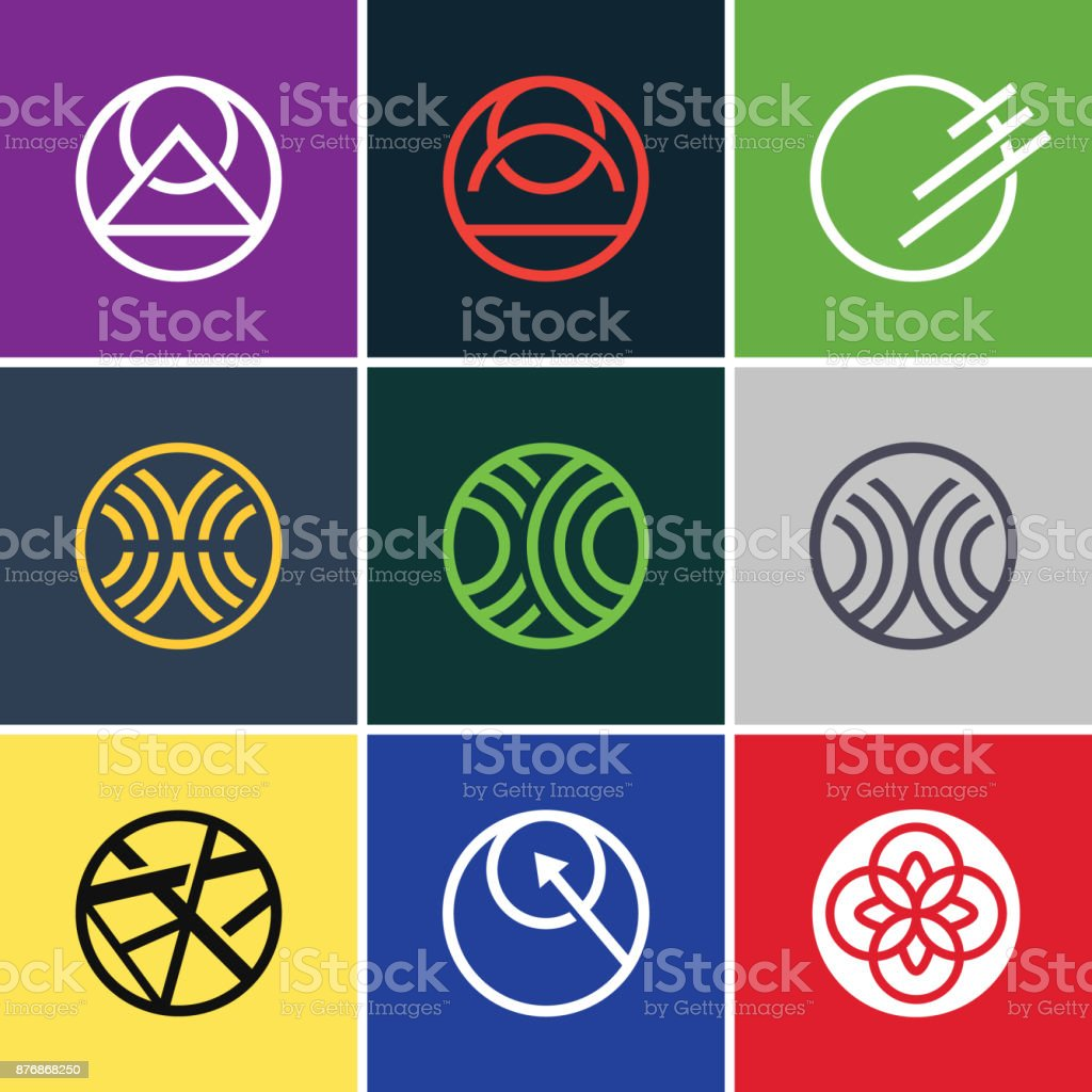 Abstract Line Art inside Circle icon collections vector art illustration