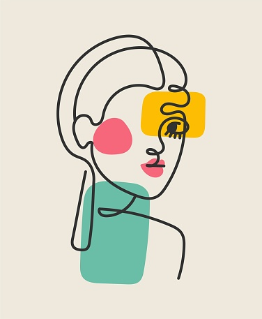 Abstract Line art of woman face wall art decoration