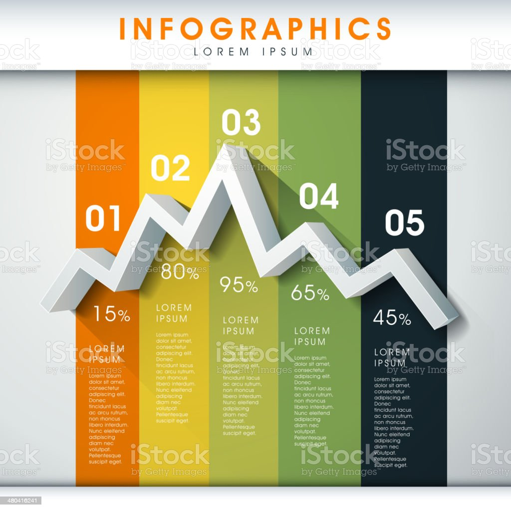 abstract line chart infographics vector art illustration