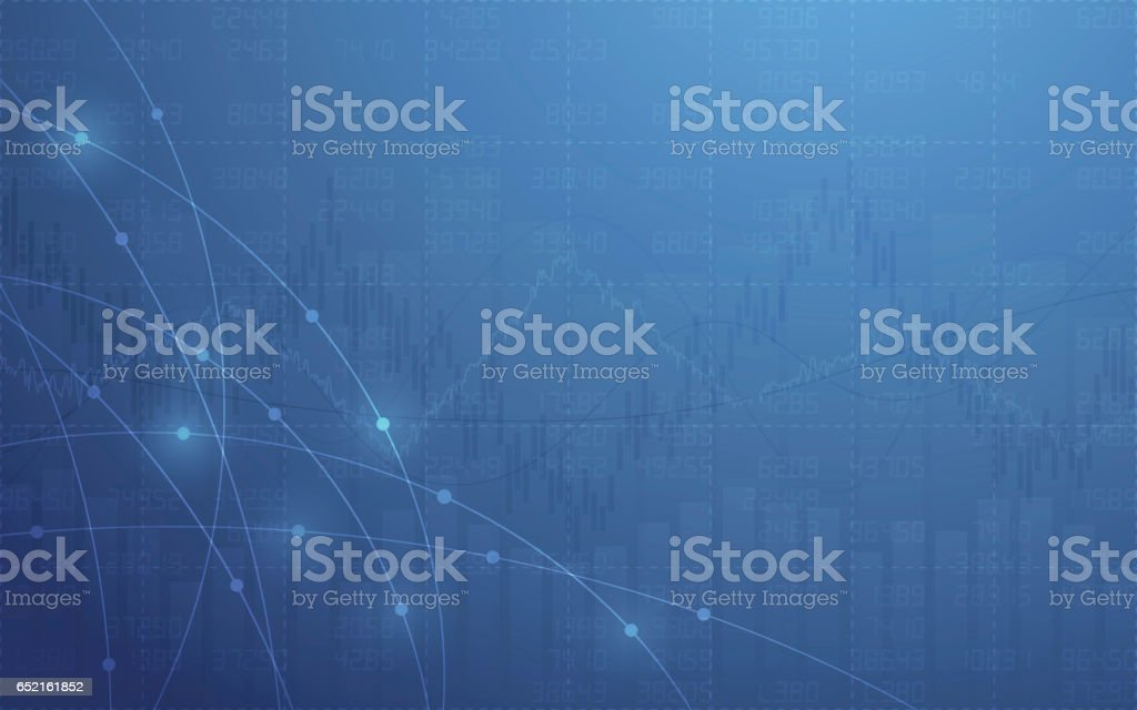 Abstract line graph and stock numbers on blue color background vector art illustration