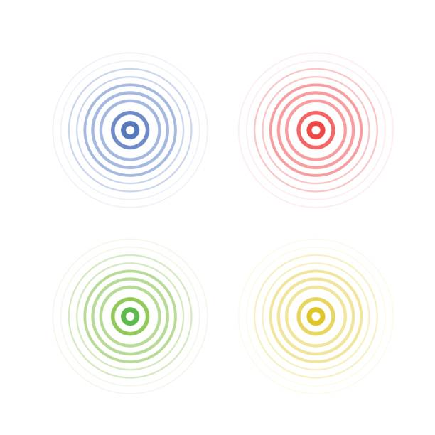 abstract line ripple emblem. radar, sound or vibration icon - repetition stock illustrations