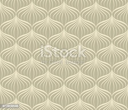 Abstract line floral seamless pattern. Oriental style flourish background