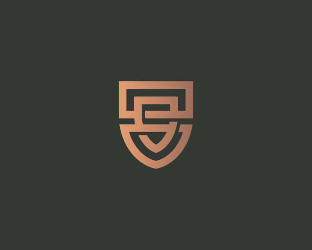 bildbanksillustrationer, clip art samt tecknat material och ikoner med abstrakt linje sköld logo typ design. universell skydd säkerhets vektor logo typ. två sammanflätade länkade sköldar - lawyer
