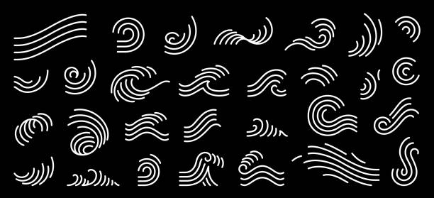 Abstract line vector illustration. Line stripe for logo design and decoration. Single line stroke silhouette wave symbol. wind stock illustrations