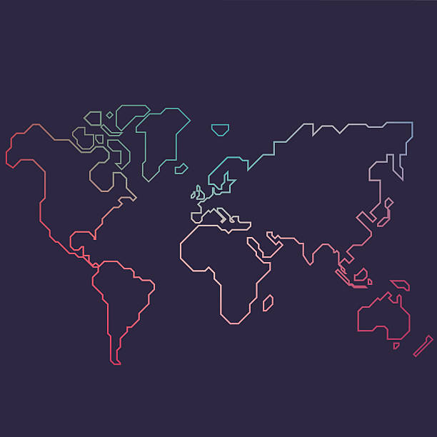 Line Drawing World Map : Royalty free world map clip art vector images
