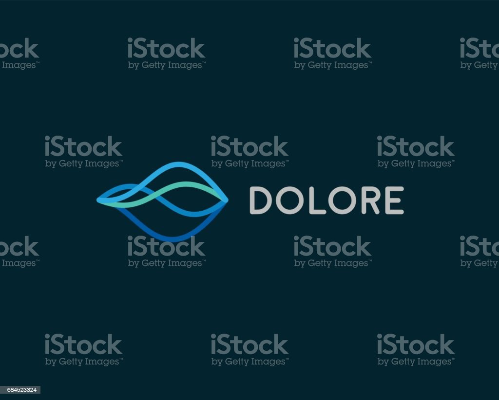 Abstract linear emblemtype. Wave flow emblem symbol. Motion stream water aqua vector icon vector art illustration
