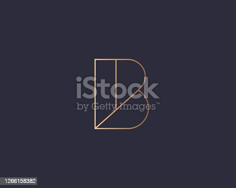 istock Abstract linear letter B logo icon design modern minimal style illustration. Premium vector line emblem sign symbol mark logotype 1266158382