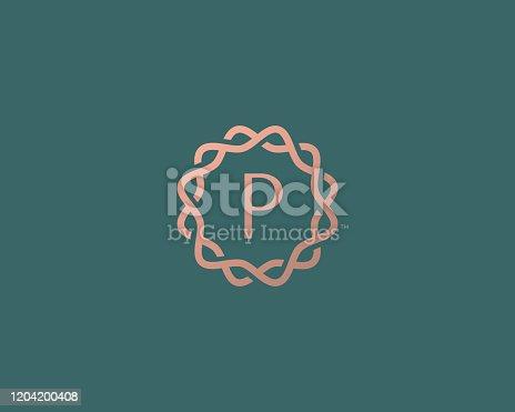 istock Abstract linear monogram letter P logo icon design modern minimal style illustration. Premium alphabet round wreath frame vector line emblem sign symbol mark logotype 1204200408