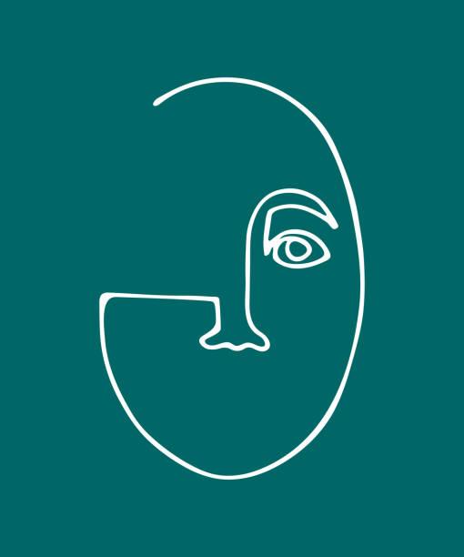 abstrakte lineare silhouette des menschlichen gesichts. - avantgarde stock-grafiken, -clipart, -cartoons und -symbole